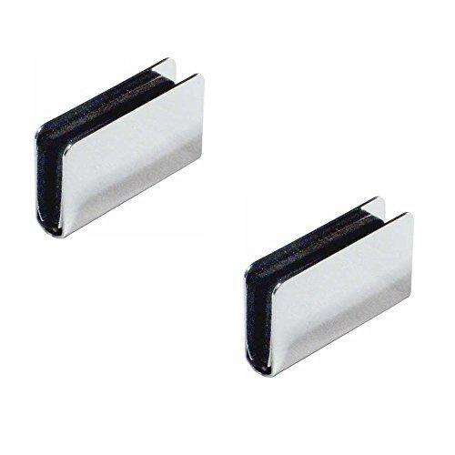 2 Stück - GedoTec® Möbel Magnet-Druckverschluss Gegenstück zum Aufklemmen | für Glasdicke 4 - 6 mm | Stahl verchromt | Markenqualität für Ihren Wohnbereich