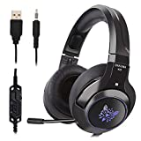 Qingta Gaming Headset, Comfortable LED Lighting Headsets Over-Ear Headphone with Mic for PS4