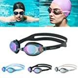 SBRMART Swimming Goggles Anti-Fog UV Protection HD Glasses - Black