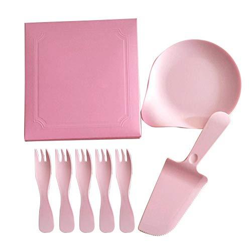 iBaste_top Vaisselle Jetable Vaisselle de Gâteau et Plateau D'égouttement en Plastique Ondulé de Fourchette Set de Vaisselle Jetable de Gâteau d'anniversaire