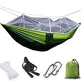DSTong 2 Personen Camping Hängematte Moskito Netz,(260 * 140cm) Outdoor Ultraleichte Hängematten Atmungsaktiv,Tragbare Fallschirm Nylon Hängematten für...