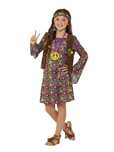 738M Hippie Kostüm, mit Kleid, Mädchen, Mehrfarbig, Medium, UK 7-9 ()