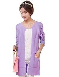Dayiss® Fashion Damen Lange Häkelarbeitknit Gestricktes Cardigan Strickjacke Pullover Strick Mantel Violett
