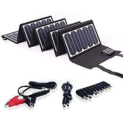 SUNKINGDOM Chargeur Solaire Pliable et Portable 60 W Pet avec Double Sortie (DC5521 18V et USB 5V) pour Camping