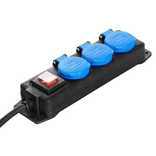 as - Schwabe 3-fach Verteilersteckdosenleiste mit Schalter - Schuko-Steckdosen 45° - Mehrfachstecker mit 1,5 m Leitung - 230 V / 16 A Mehrfachsteckdose für den Außenbereich - IP44 -  Schwarz I 38603