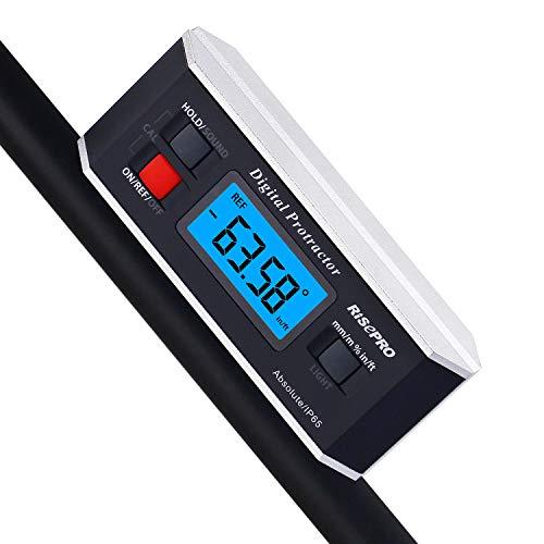 inclinomètre, Risepro Digital Rapporteur Angle Finder Niveau inclinomètre magnétique rainure en V 0 ~ 360 degrés avec rétroéclairage 82413b