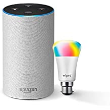 Amazon Echo (White) Bundle with Wipro 7W Smart Color Bulb