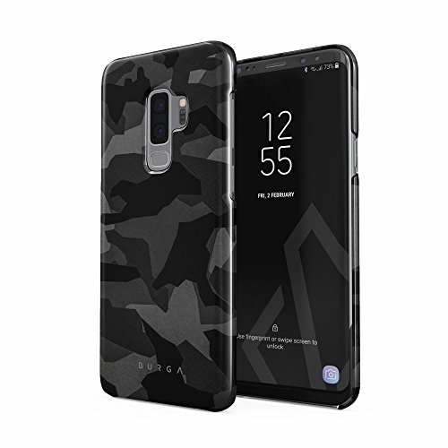 BURGA Samsung Galaxy S9 Plus Hülle Nacht Grau Städtisch Schwarz Camo Camouflage Tarnung Muster Dünn Robuste Rückschale aus Kunststoff Für Samsung Galaxy S9 Plus Handyhülle Schutz Case Cover