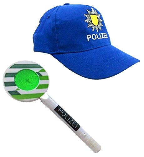 Brigamo 3872 - Bundespolizei Spielset mit Polizei Mütze und PolizeiKelle mit LED (Karneval Flüchtlings Kostüm)