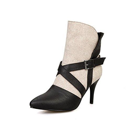 VogueZone009 Damen Mittler Absatz Gemischte Farbe Ziehen auf Blend-Materialien Stiefel, Cremefarben, 42