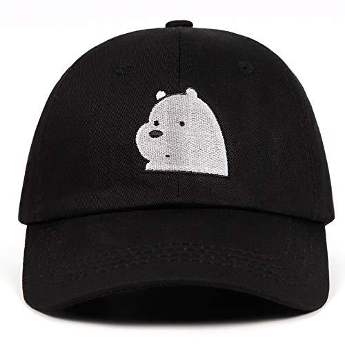 KNCDBCDMZ Baseballmütze Wir Bare Bears Papa Hut Ice Bear Baseball Caps 100% Baumwolle Ice Bear Grizzly Panda Stickerei Snapbcak Kappe Cartoon Polar bär