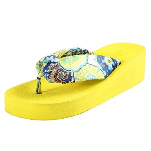 Yiiquan Damen Sommer Plateau Flip Flops Schuhe Sandalen innen & Outdoor Zehentrenner Gelb #1