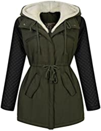 Miusol® Damen Parka Winter Herbst Jacke Kapuzen Fleecejacket Trenchcoat Mantel