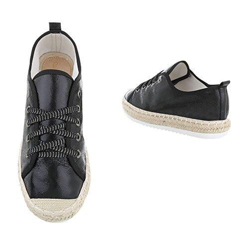 Low-Top Sneaker Damenschuhe Low-Top Sneakers Schnürsenkel Ital-Design Freizeitschuhe Schwarz B744S-BL