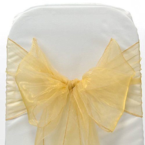 EDS Pack of 25 Organza Sashes chair bow Sash for wedding Banquet and Events Supplies Party Decoration chair cover sash -Gold