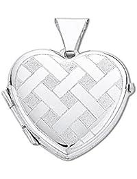 Colgante de plata de ley 925pequeño grabado patrón tejido Corazón Colgante