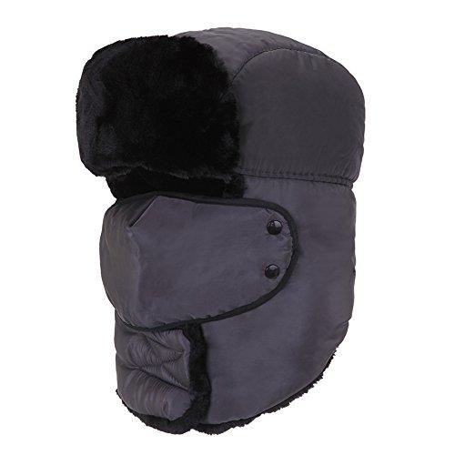 AJUSEN Chapeau de Chasseur D'hiver Unisexe Chapeau de Chasse Ushanka Boucle D'oreille Chapeau de Menton et Masque Coupe-Vent Gris