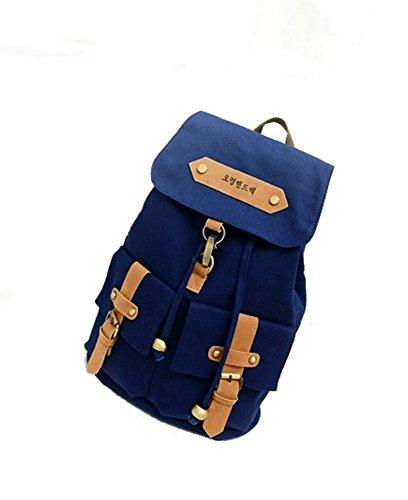 SAMGU Freizeit Rucksack unisex vintage lässigen Backpack Mode Pack Leinwand Daypack Bag Farbe Blanc Blau marine
