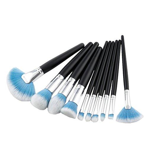 MagiDeal 10pcs Ensemble Brosses à Maquillage en Poils Nylon et Manche Bois pour Fond de Teint Blush Fard à Paupières Pinceaux Cosmétiques à Fondation - Bleu Blanc