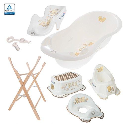 Babybadewanne (102cm) mit Stöpsel - Badewanne 102cm Badesitz Ständer WC-Sitz Töpfchen Hocker - Bärchen in Weiß
