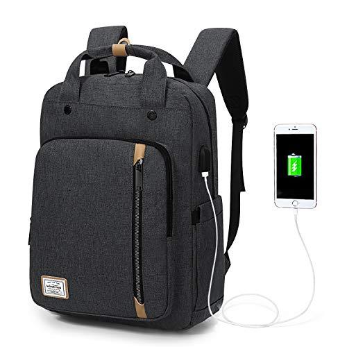 Wind Took Damen Rucksack Daypack Laptop Notebook Backpack 15 Zoll mit USB Kabel für Uni Casual Alltag Freizeit, Grau