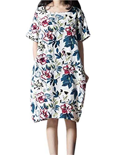 TEBAISE Damen Sommerkleid Leinen Baumwolle Blumendruck Minikleid Party Langarm Kleid Plus ()