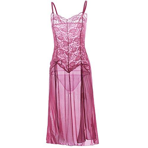(Dessous Nachtwäsche Damen, Sunday Mode Frauen Aussehen Elegant Clubwear Kleid Reizwäsche Babydoll Spitze Blumen Bustie Nachthemd Sexy Unterwäsche Pyjamas (Rosa, S))