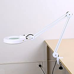 Led Magnifying Lamp, Adjustable 5x Magnifying Desk Table Top Lamp Beauty Magnifier Glass Lamp Natural Light