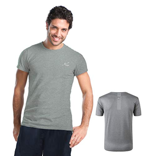 Yirui Sportshirt Herren Fitness Shirt Laufshirt Kurzarm T Shirt(Grau M) -