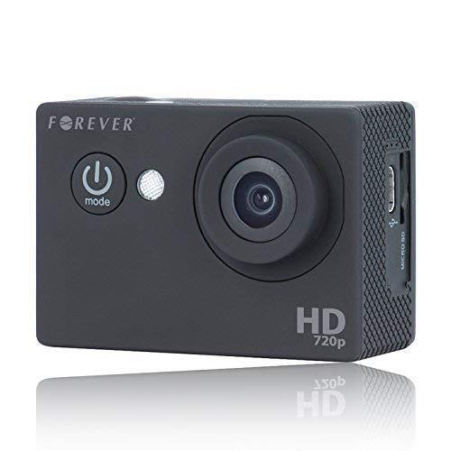 Forever Actioncam Fullhd 720p 30fps 12MP Impermeabile Videocamera Sportiva Telecamera Casco Dashcam per Casco Auto Moto Sciare Cane con Accessori