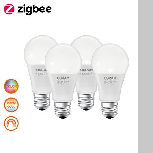 Osram Smart+ Lampadina LED Zigbee, Goccia, E27, 60 W Equivalenti, Luce Colorata RGBW, 4 Pezzi