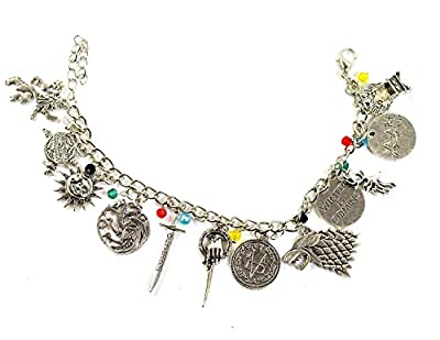 Game of Thrones Charm Bracelet - GOT Jewellery - Stark, Lannister, Targaryen Charms - In Gift Box