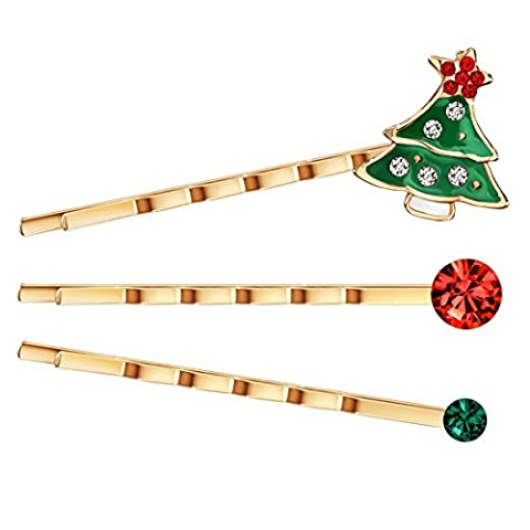 Neoglory Jewellery Haarspangen Set Tannenbaum Weihnachtsbaum Strass rosegold