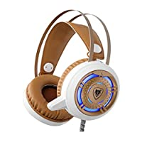 AOOPOO Gaming Headset with Mic - Over Ear PC Headphones Noise Reduction Headset with LED Ligh for Computer