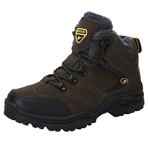HDUFGJ Herren Trekking- & Wanderstiefel Plus Samt Hohe Sneaker Boots rutschfest Chelsea Boots Lederstiefel Stiefel Schnürstiefelette Kurze Booties Leather 45 EU(Grün)