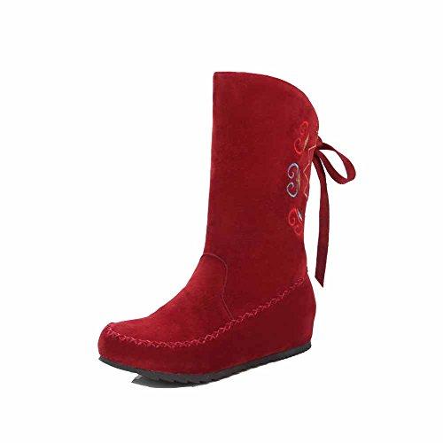 AllhqFashion Damen Rein Mattglasbirne Niedriger Absatz Rund Zehe Ziehen auf Stiefel, Rot, 39