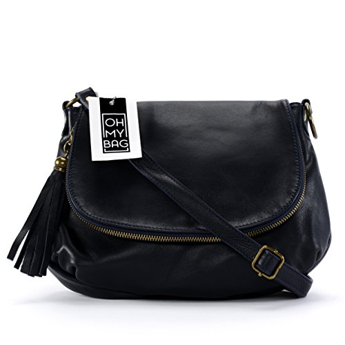 OH MY BAG Sac à Main CUIR souple femme - Sac porté bandoulière - Modèle 72 heures (petit) Nouvelle collection BLEU FONCE