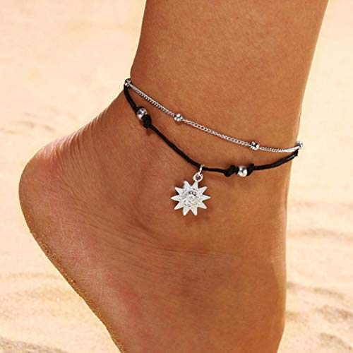 Bobopai Anklet Bracelet Foot Accessories Fashion Double Chain Beach Jewelry Barefoot Charm Bead Ankle Bracelet - Bohemian Style Adjustable Women Girls (Silver2) -