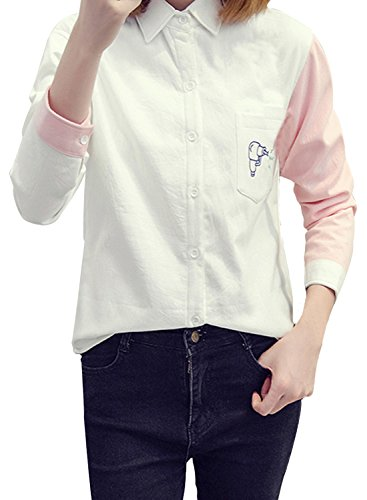 ACHICGIRL Women's Thicken Long Sleeve Button Front Thermal Shirt pink