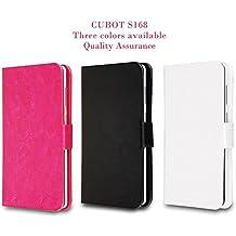 Prevoa ® 丨 Flip PU Funda Cover Case para CUBOT S168 3G Con 5.0 Pulgadas Android Smartphone - Blanco