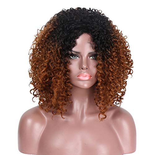 Perücke Wig Damen Braun Langhaar Lang Afro Curly Lockige Hair Wavy Synthetic Brazilian Cosplay Anime Human 80Er