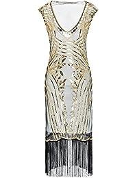 Metme Mujer Década de 1920 Sexy cuello en V con cuentas con flecos gran Gatsby tema