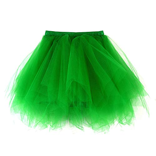 Andouy Damen Tutu Rock Tüll Mix Bunte Petticoat Ballett Tanz Organza Geschichteten Kostüm Dress-up sexy Größe 36-46(36-46,Gras-Grün) (Günstige Queen Of Hearts Kostüm)