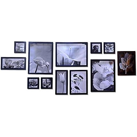 GYN Continentale minimalista a mano tinta legno Wall Decor foto cornice foto Set telaio foto telaio 12 scatole , A