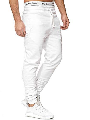 Code47 Jogginghose Trainingshose | Sport Fitness Gym Training Slim Fit Sweatpants Weiß XL (Trainingshose Weiß Baumwolle)