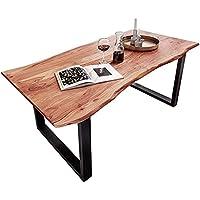 SAM Baumkantentisch 120x80 cm Quarto, Akazienholz massiv + naturfarben lackiert, Esstisch mit schwarz lackiertem U…