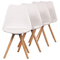 Makika Design Chair Retro Dining Style Kitchen Chair Office Chair Modern Lounge Chair with Backrest Set of 4 MOOL in White with Backrest