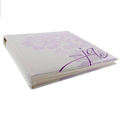 Goldbuch Hochzeitsalbum, Ja, 30 x 31 cm, 60 weiße Seiten mit Pergamin-Trennblättern, Kunstdruck mit Relieflack, Weiß/Flieder, 08021
