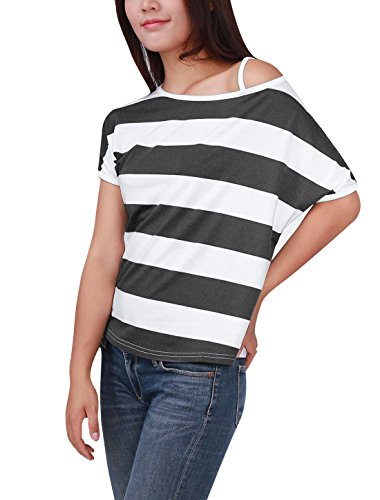 Allergra K Damen Asymmetrisch Halsausschnitt Fledermaus-Ärmel Hemd Top Grau