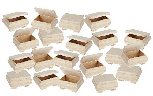 VBS Großhandelspackung 20 Holzkästchen mit Deckel 11x6x8cm Holz natur bauchig